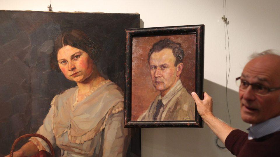 Obrazy německého výtvarníka Hanse Canona v Jihlavě, vpravo Vilém Wodák