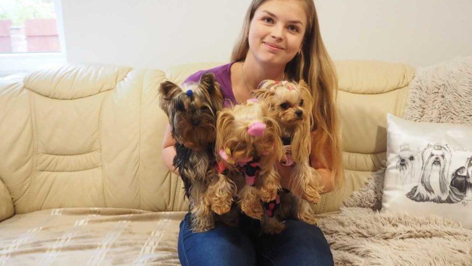 Linda Derežič a jorkširští psi