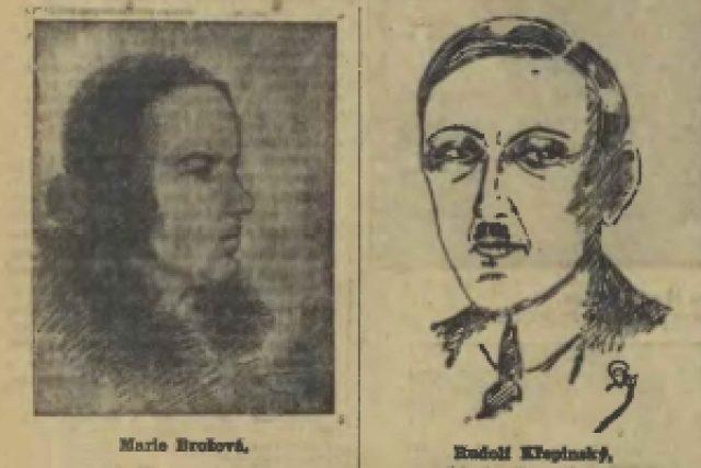 Marie Brožová a Rudolf Křepinský na kresbách z novin