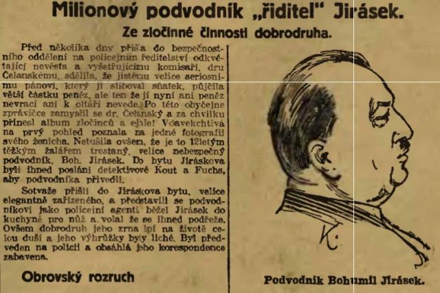 Bohumil Jirásek v dobovém tisku