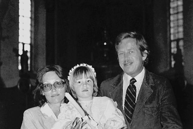 Václav Havel a Marta Kubišová ve Štokách při křtinách