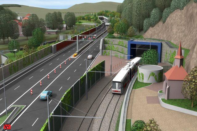 Vizualizace nového tunelu s kaplí v Brně | foto: Město Brno