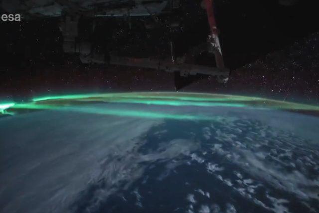 Polární záře z vesmíru | foto: Thomas Pesquet,  ESA